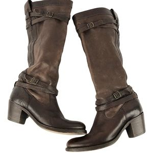 FRYE Jane Size 8.5 B Brown Leather Riding Boots